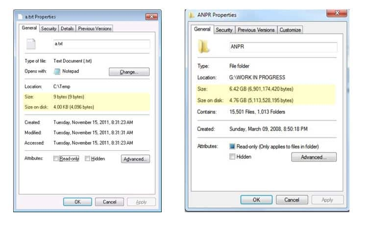 Size and Size on Disk